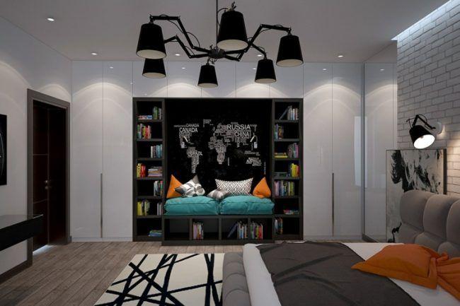 jugendzimmer moderne sitzecke wandnische regale weltkarte