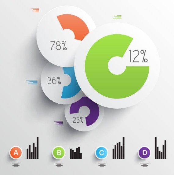 3D Pie \ Column Chart Templates Vector Free Web\/Graphic Design - pie chart templates