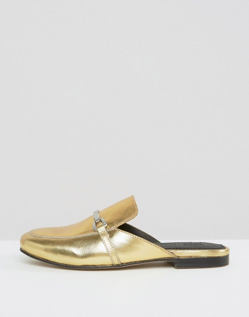 4b0fc676f4d ASOS MOVIE Leather Mule Loafers - Gold Mule Loafers