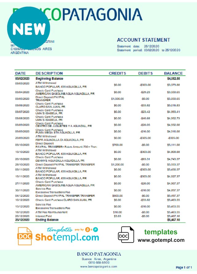 Argentina Banco Patagonia Bank Statement Template In Word And Pdf Format Statement Template Bank Statement Templates
