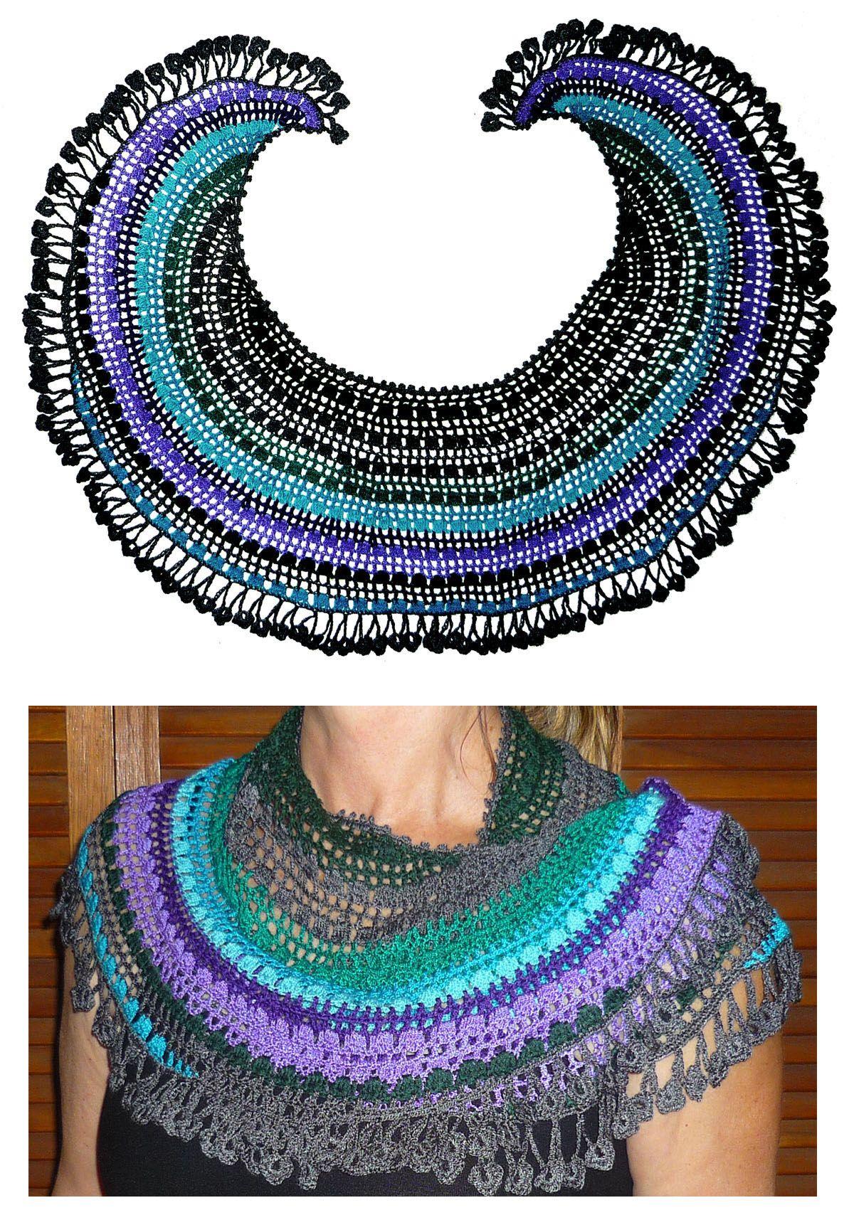 Chal de media luna tejido a crochet en hilos de colores gris, lila ...