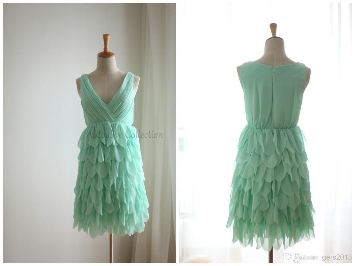 Wholesale eveing dresses buy mint blue ruffle chiffon bridesmaid