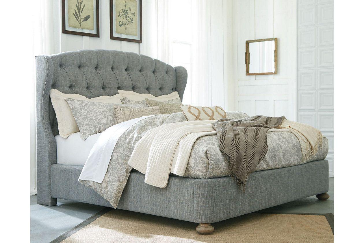 Grayish Brown Larrenton King Panel Bed View 1 Bedroom