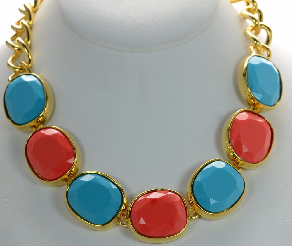 Kenneth Jay Lane KJL Blue and Red Gold-tone Toggle Necklace