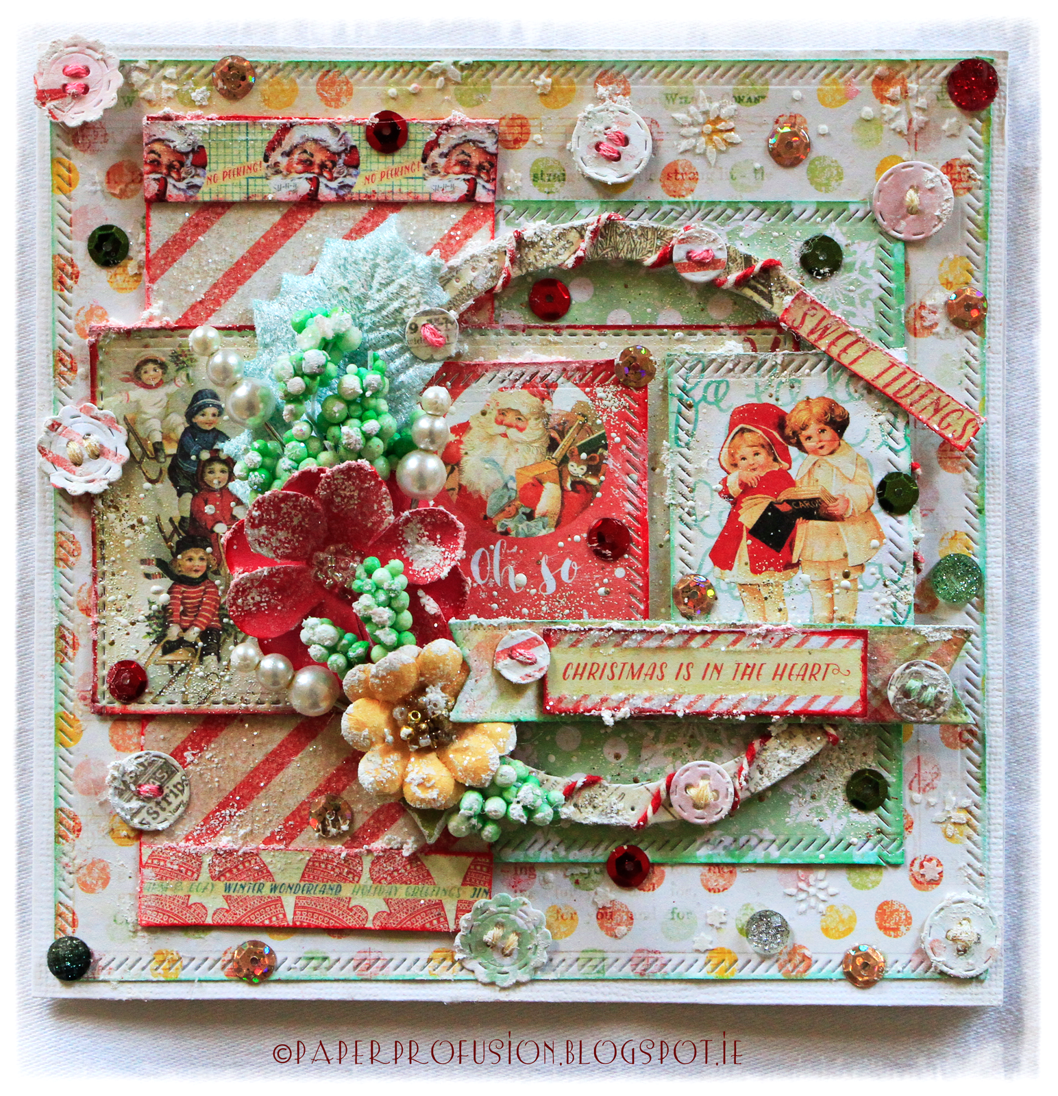 Scrapbook ideas with flowers - Prima Sweet Peppermint Papers And Flowers Beautiful Christmaspepperminthandmade Cardsscrapbook Layoutschristmas