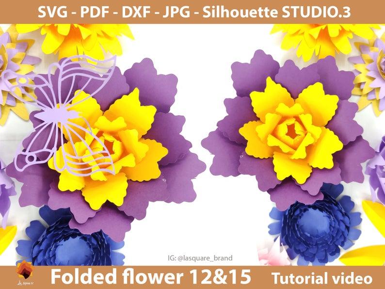 02 Paper Roses, Paper Flower SVG, Giant Paper Roses, Large Paper Flowers, Flower Templates, SVG Cut Files, Rose Templates cricut silhouette