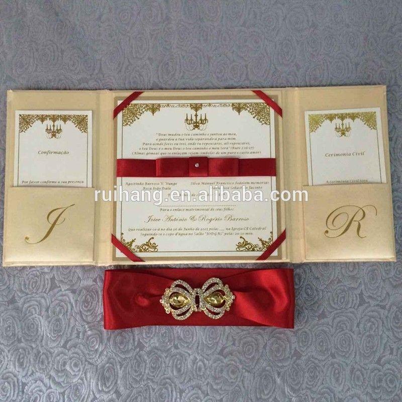 2015 Wholesale Gatefold Silk Decoration Wedding Invitation Box Folio