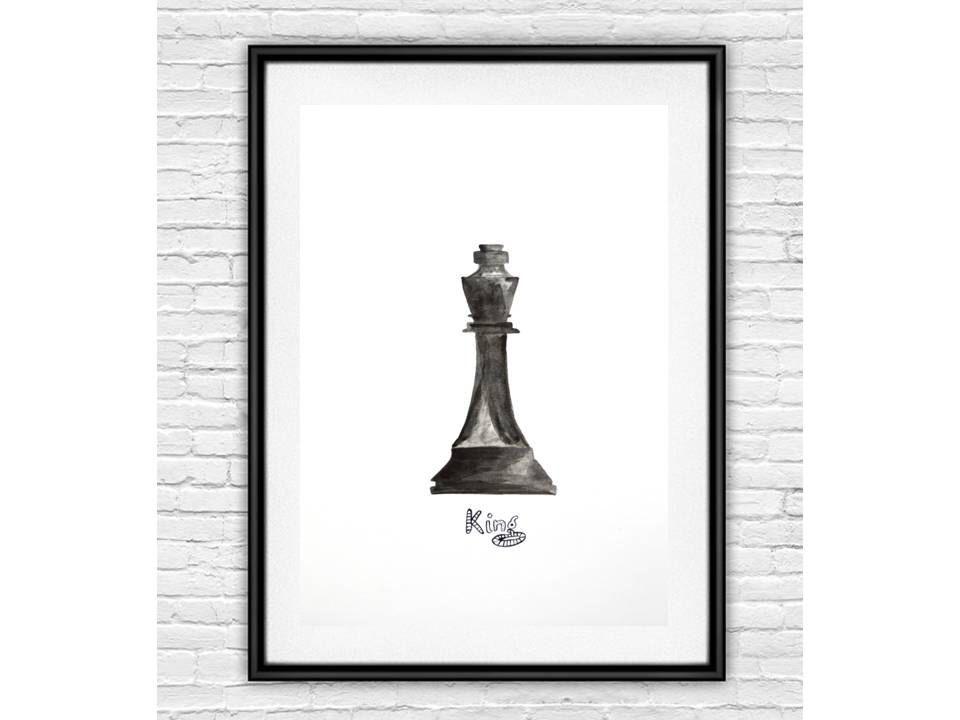Black and White Art Print, Chess Art, Modern Art, Wall Decor, Home - chess score sheet