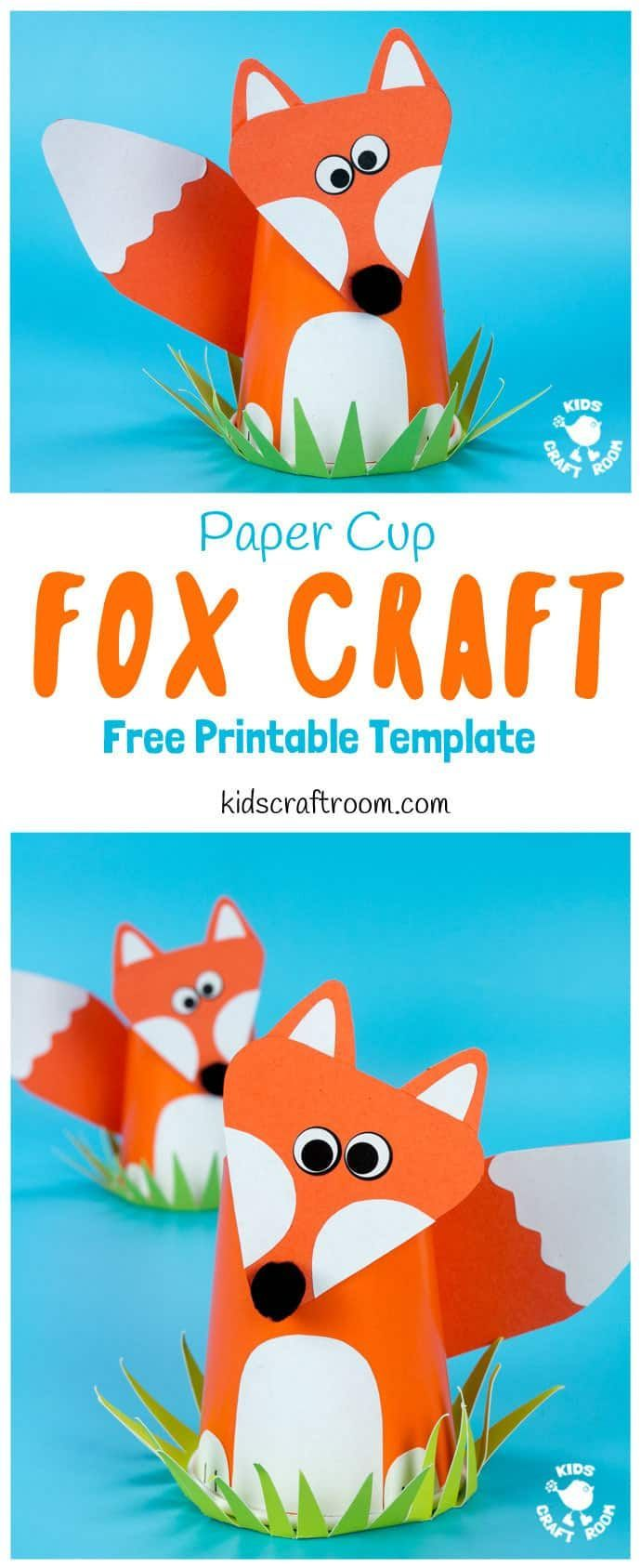 Cute Paper Cup Fox Craft For Kids CUTE PAPER CUP FOX CRAFT FOR KIDS. Fox crafts are so fun and this paper cup craft is easy to make with the free printable fox craft template. Such a fun woodland animal craft. via @KidsCraftRoom