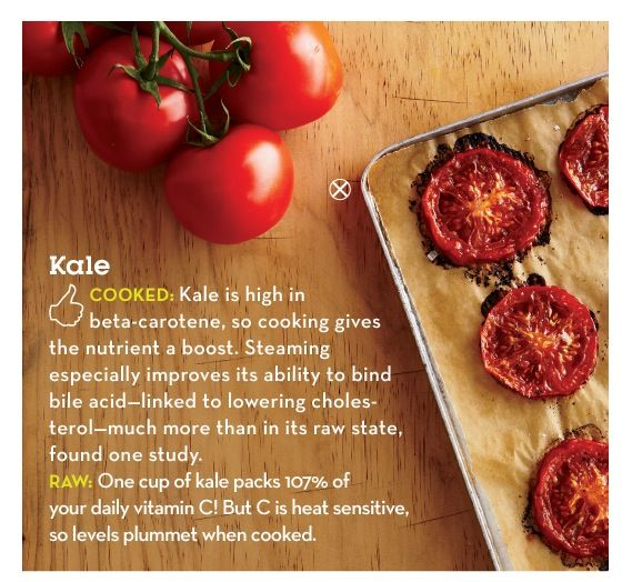 Kale nutrition cooked vs raw