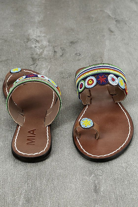 7de374e253f79 Set your inner goddess free with the Mia Athens Brown Bright Multi Beaded  Flat Sandals!