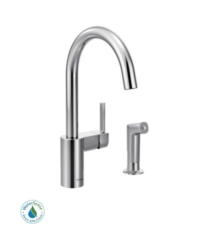 Moen 7165 Single Handle Kitchen Faucet with Side Spray from the ...