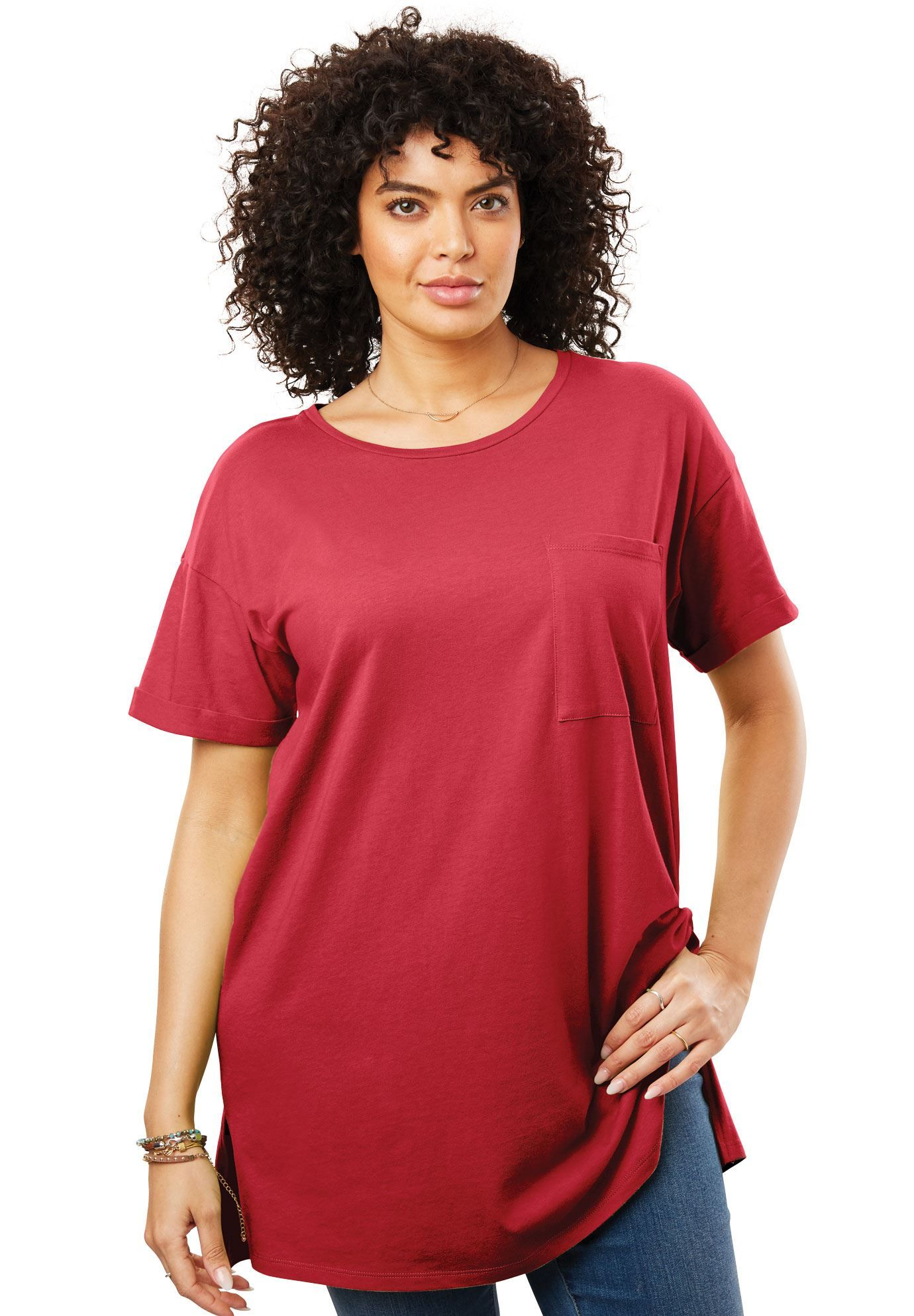 564851bab Longer Length Crewneck Tee - Women's Plus Size Clothing | Products