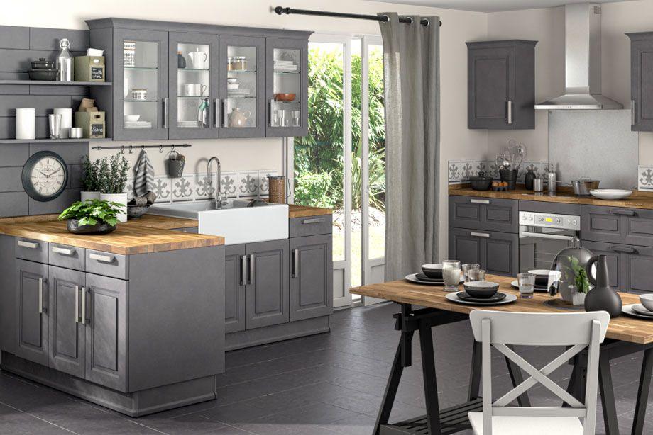 cuisine bistro gris patine cuisines pr233f233r233es