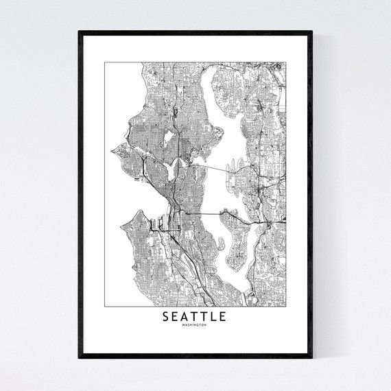 Seattle Map Print Seattle Map Poster Seattle Wall Art Seattle