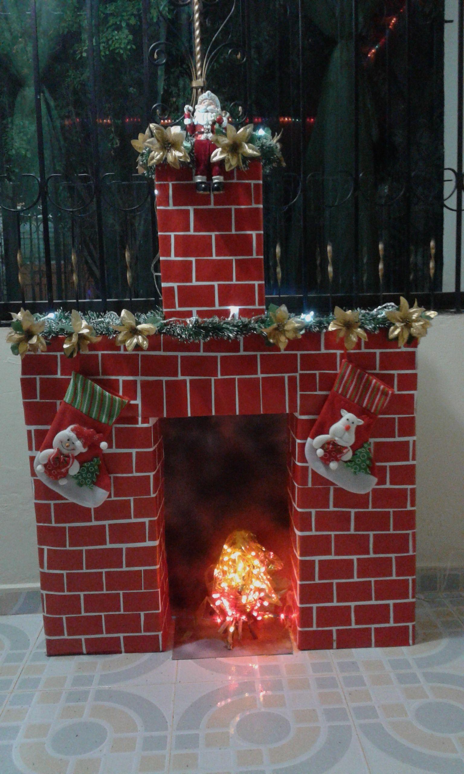 Chimenea cajas de cart n christmas chimeneas - Chimeneas para decorar ...
