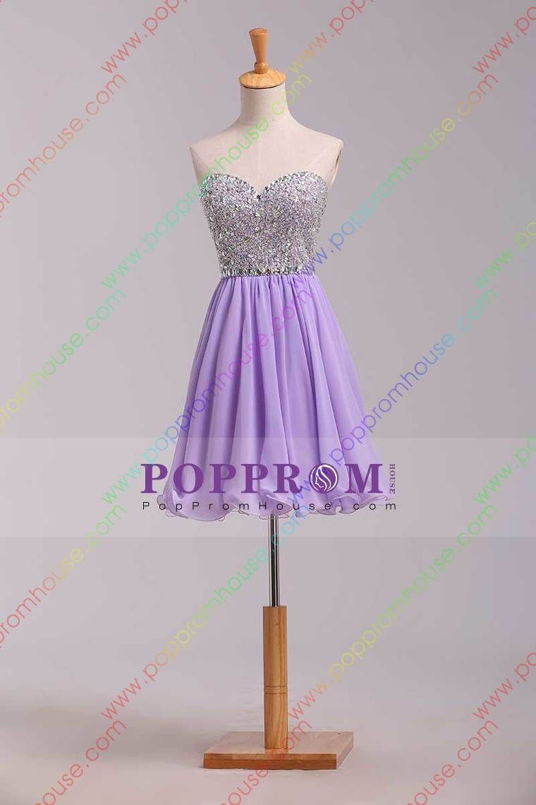 2014 Special Occasion Dresses Sweetheart Sleeveless Short/Mini Chiffon Lace Up Back Lilac