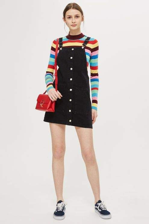 Topshop Moto button through pinafore dress   pinafore   striped shirt   90s  outfit   90s