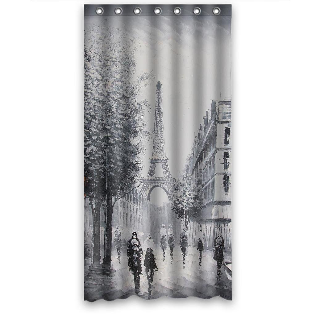 Amazon Com Eiffel Tower Quality Fabric Bathroom Shower Curtain