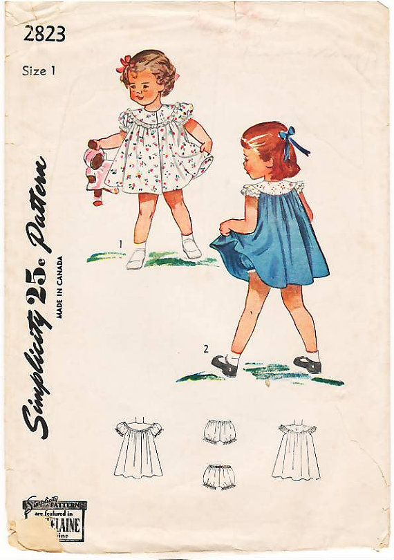 Vintage Pattern Simplicity 2823 Child\'s Dress and Panties 40s Size 1 ...