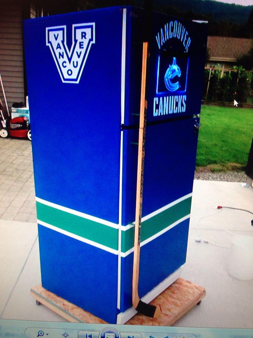 Vancouver Canucks Beer Fridge Hockey Stick As Handle