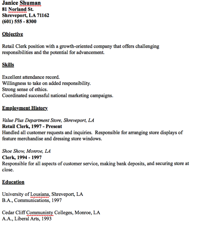 Example Of Retail Clerk Resume  HttpResumesdesignComExample