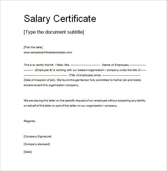 Salary Certificate Template Free Word Excel Pdf Psd Documents Letter For  School Leaving Cover Templates  Certificate Samples In Word Format