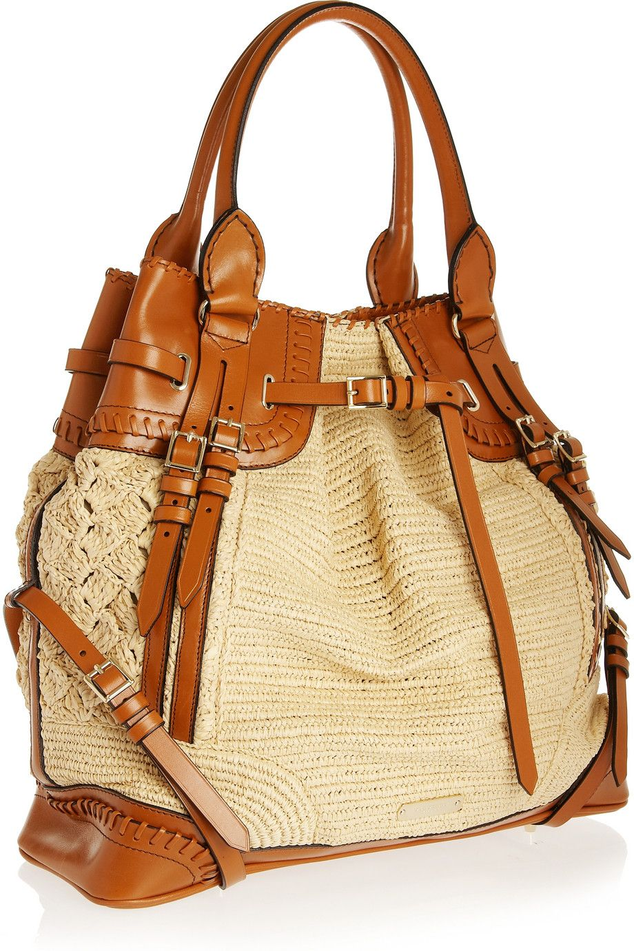 Burberry - Woven raffia-effect and leather bag