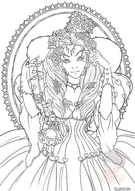 The Red Queen Februarys Digital Coloring Page Red queen Queens