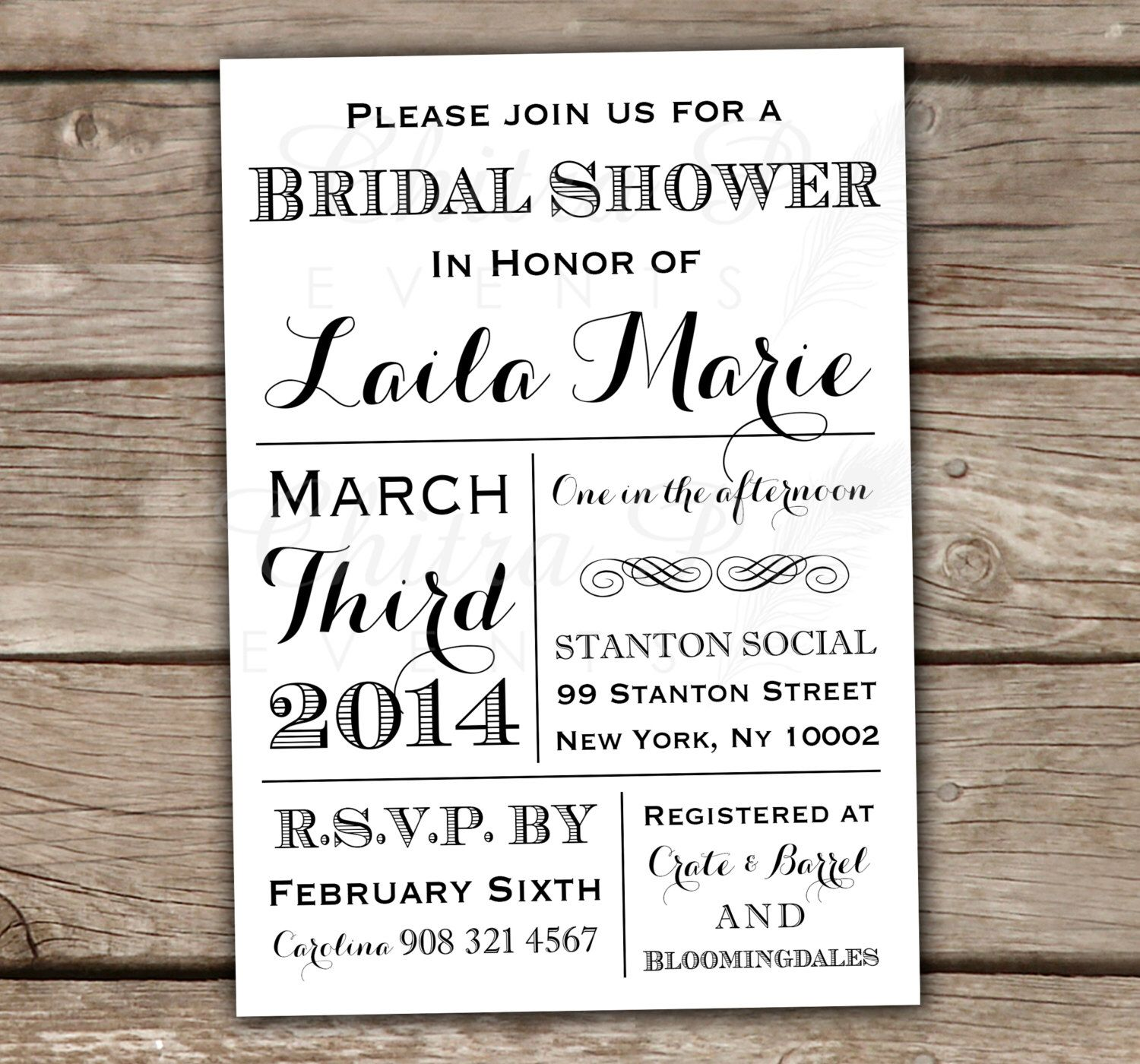 Black & White Bridal Shower Invitations - Printed or Printable ...
