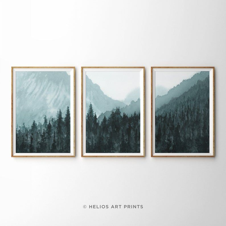 Set Of Three Blue Mountain Forest Printable Wall Art 3 Piece Etsy In 2021 Mountain Wall Art Forest Art Cactus Wall Art
