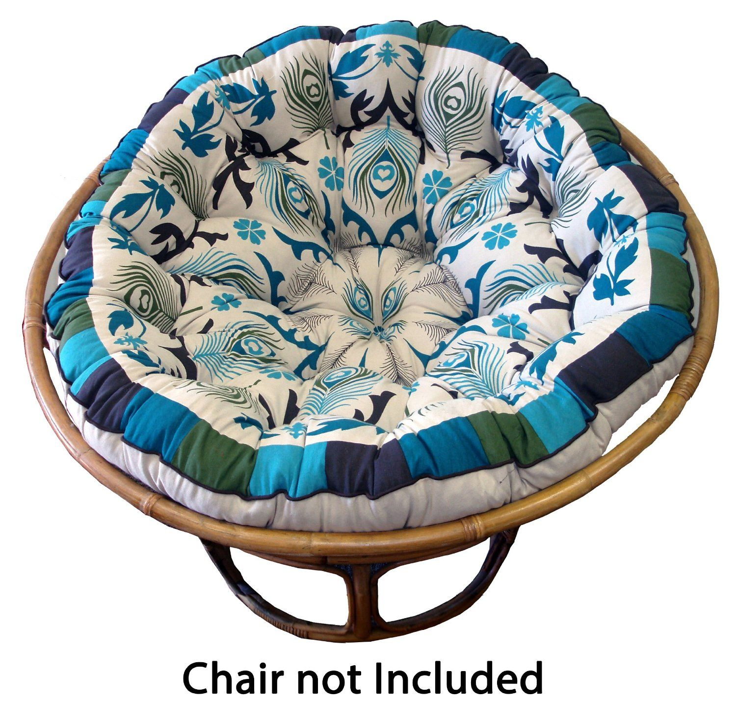 Cotton Craft Papasan Peacock Blue Overstuffed Chair Cushion