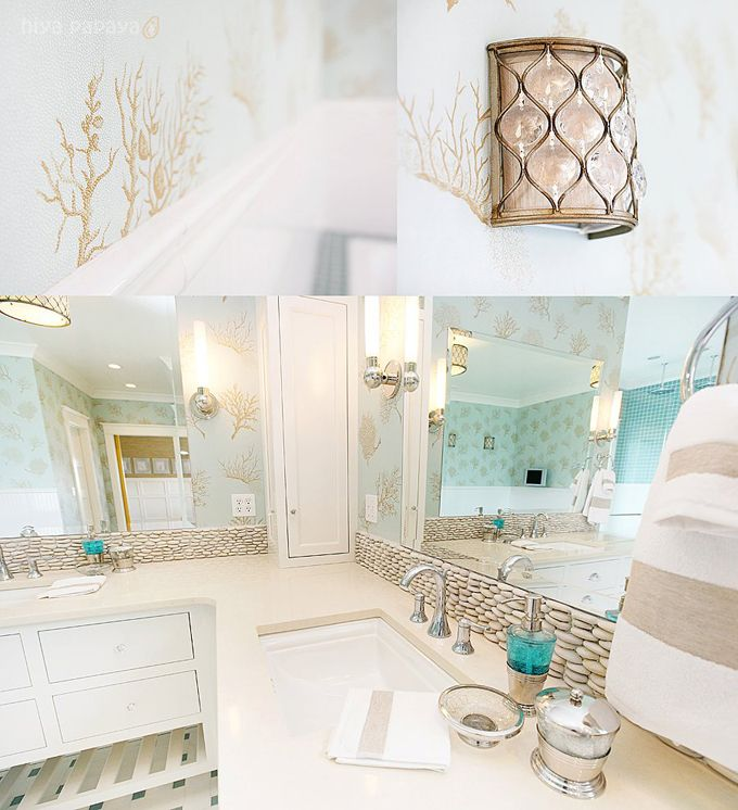 beach themed bathroom loving the brown and white with the pop of