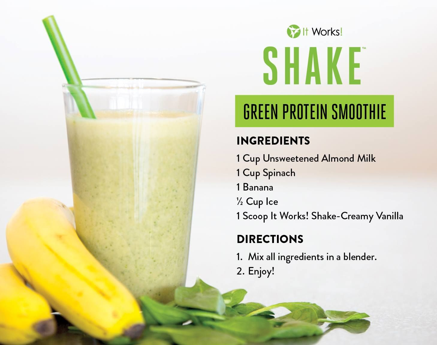 Have you tried the Green Protein Smoothie yet ? Complete with our NEW It Works! Shake, it's an easy and delicious way to get your daily protein ! It's time to commit to being healthy in 2017! Who's with us ?!