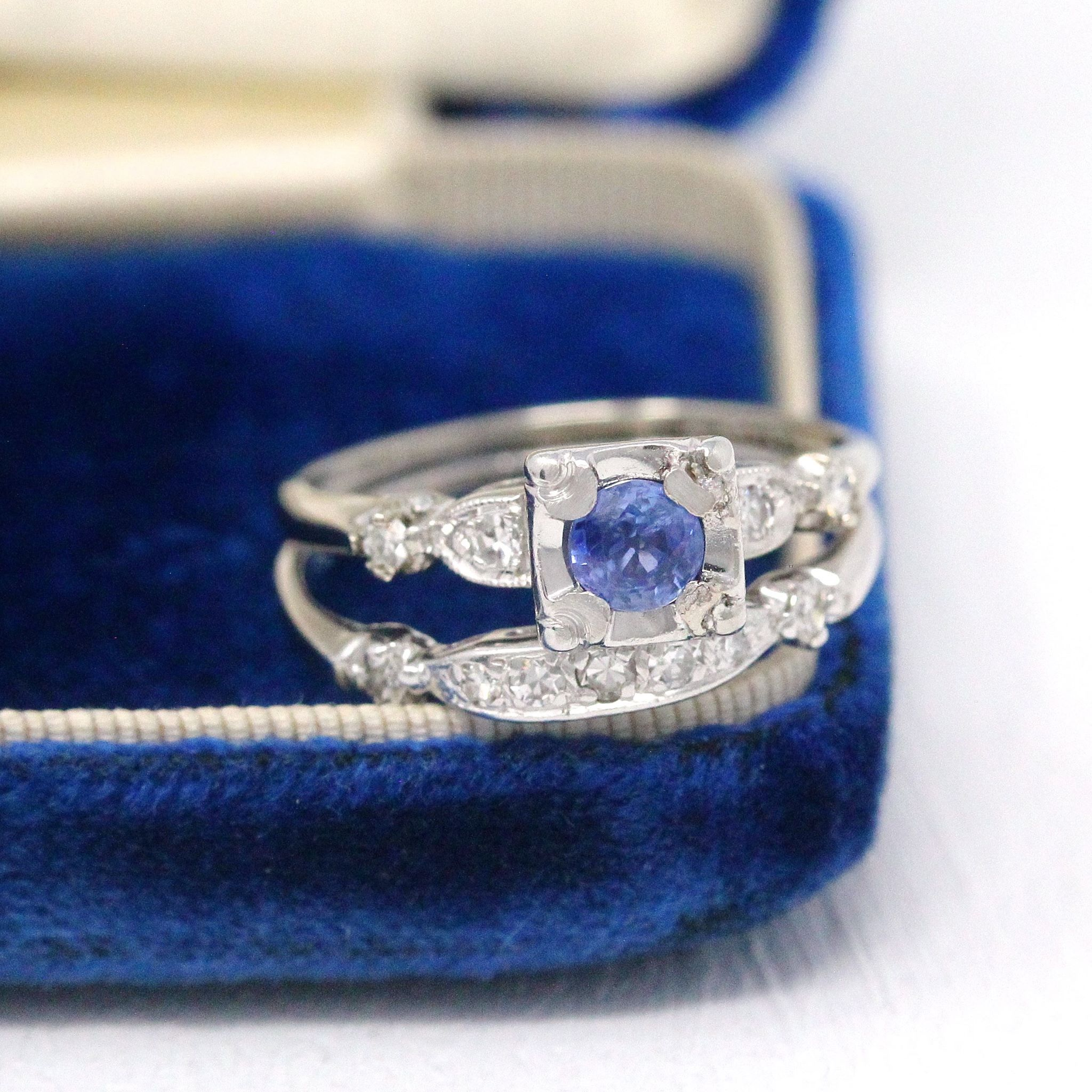 A stunning vintage 14k white gold sapphire & diamond