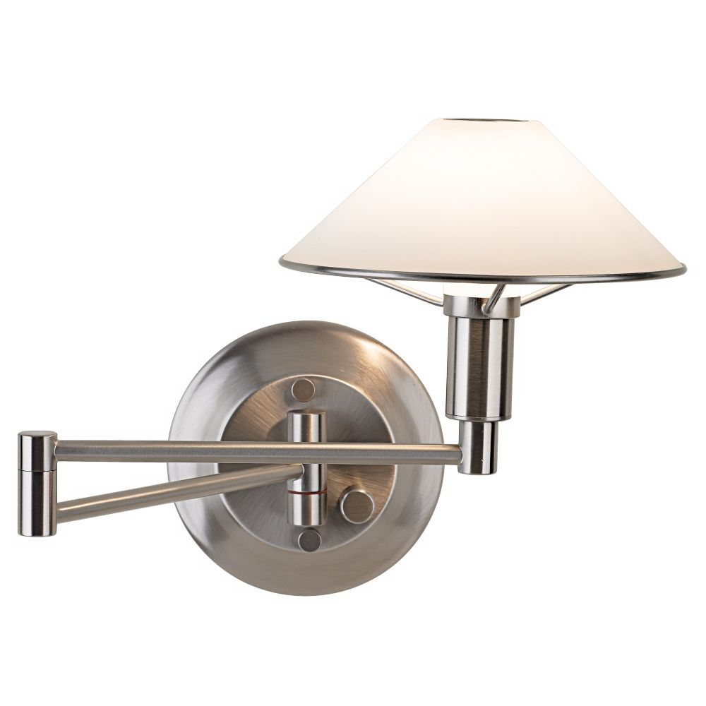 Holtkoetter Satin Nickel White Glass Swing Arm Wall Lamp Style