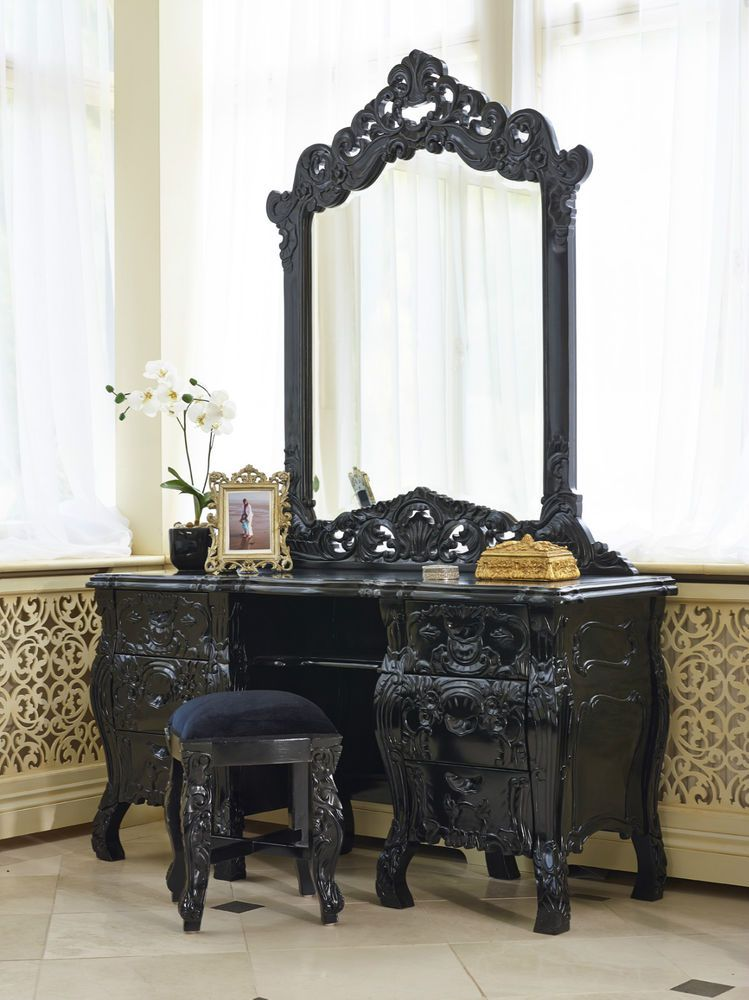 French Italian Rococo Louis black dressing table only! in Home ...