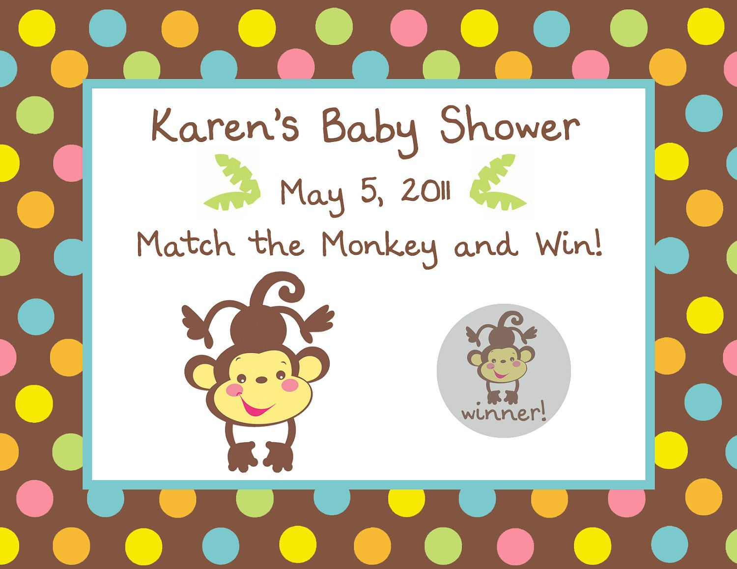 24 printed personalized fisher price monkey baby shower scratch off