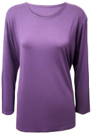 64159b34ce New Plus Size Womens Plain Jersey Long Sleeve Ladies Stretch T-Shirt ...