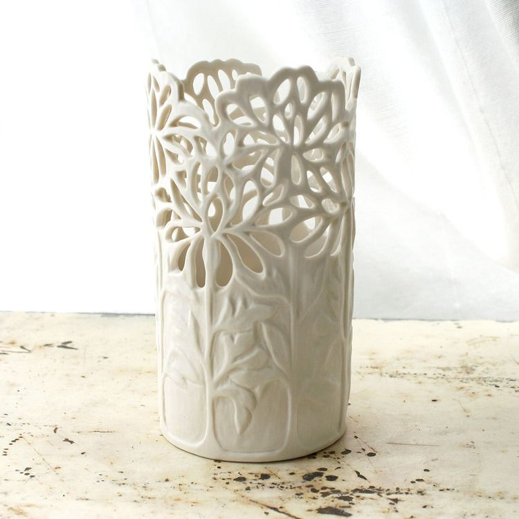 Small Carved Porcelain Chrysanthemum Vase by Isabelle Abramson. #vaseideen