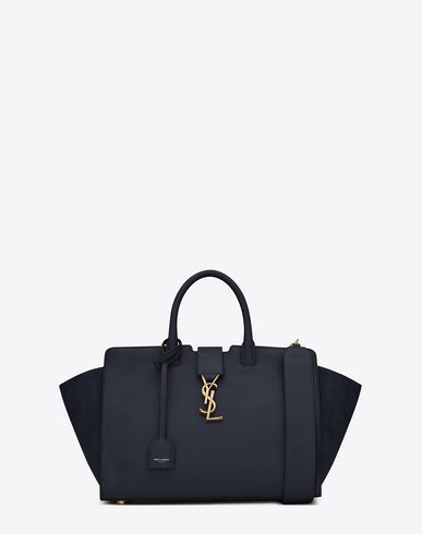 SAINT LAURENT Small Monogram Saint Laurent Downtown Cabas Ysl Bag In Navy Blue  Leather And Suede.  saintlaurent  bags  shoulder bags  hand bags  suede   64f9cd872bb5a