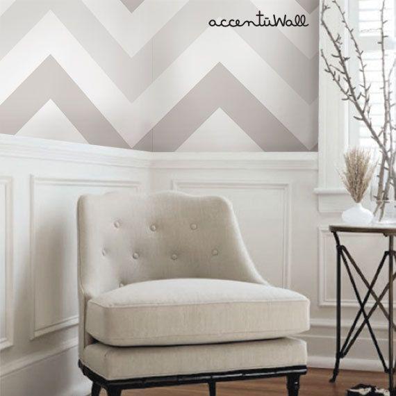 Chevron Warm Grey Peel Stick Fabric Wallpaper Repositionable Etsy Room Interior Kids Room Interior Design Dining Room Wainscoting