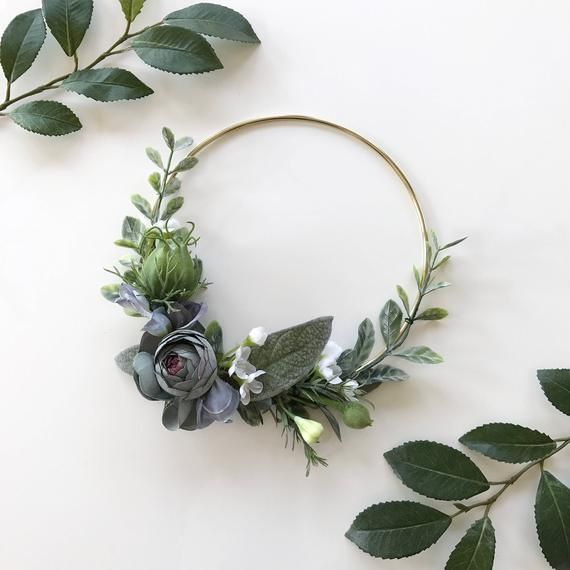 Photo of Items similar to Dusty Blue Modern Hoop Wreath. by Oh Dina! ® on Etsy
