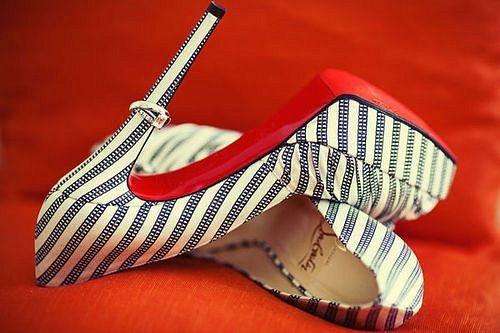 Louboutin blue & white striped heels