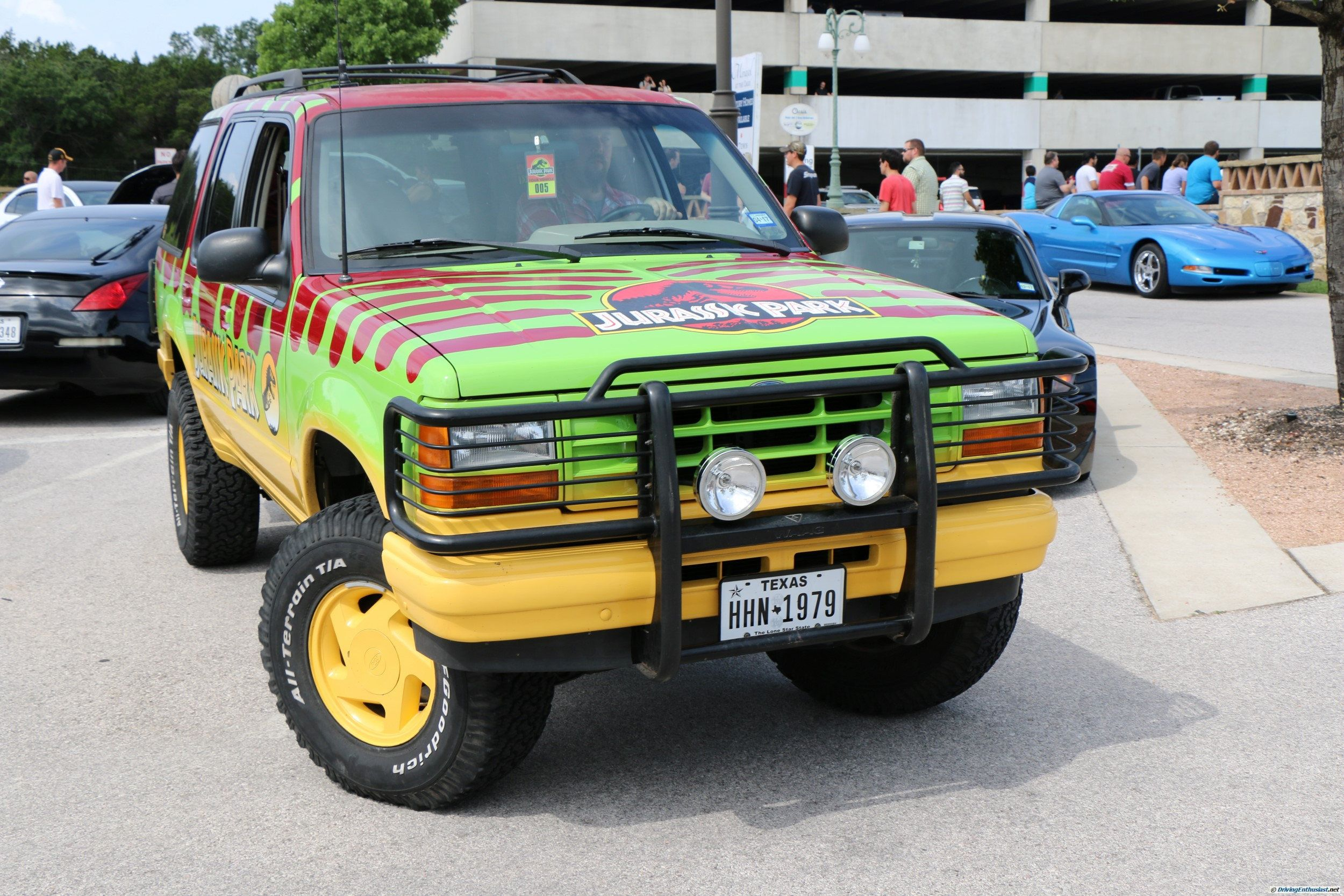 Ford Explorer in Jurassic Park movie dress. As seen at the June 2016 Cars and Coffee show in Austin TX USA.
