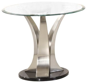 Homelegance Charlaine Round Glass End Table On Chrome Pillars  Traditional Side Tables And