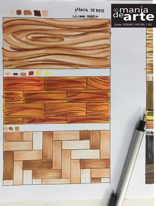 Hand Rendering Interior Design: LILIANE Tereza, Estudo Textura, Curso Perspectiva A Mão