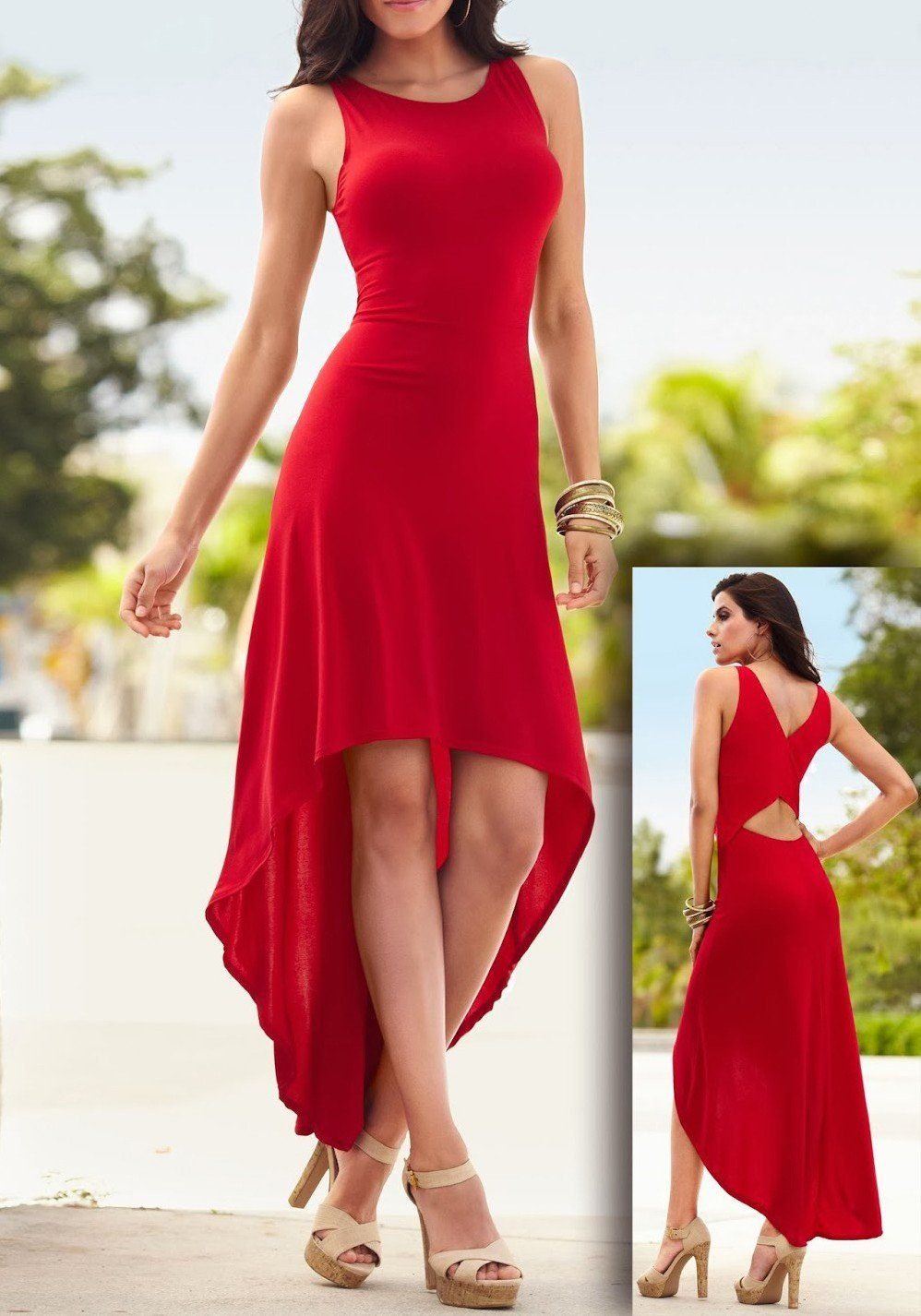 Red Cut Out Draped High-Low Round Neck Las Vegas Party Maxi Dress ...