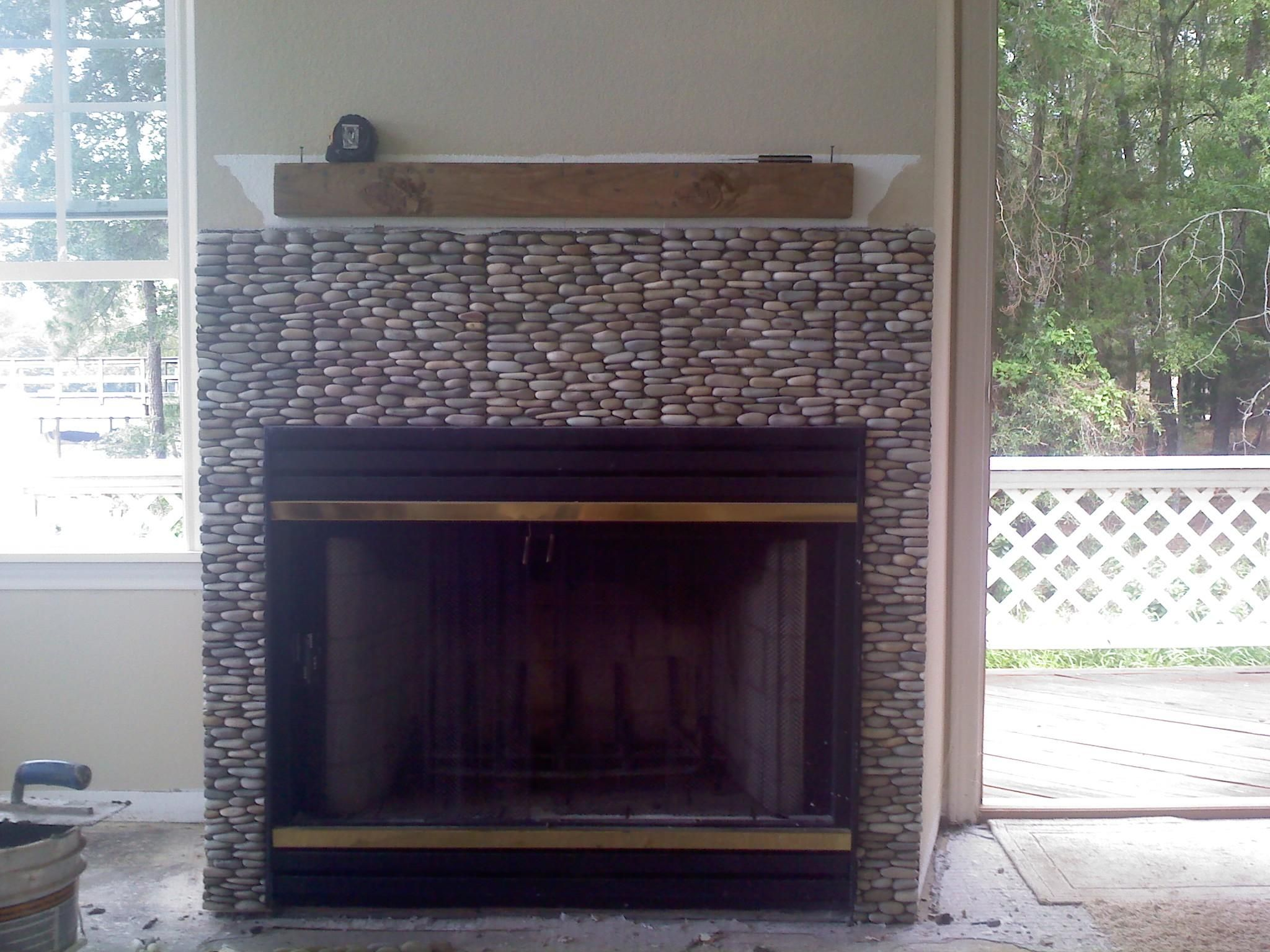 Stacked River Rock Fireplace