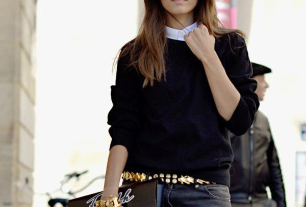 Get this look on @Wheretoget or see more #sweater #black #cable_knit #tucked_in #collar #white #gold #belt